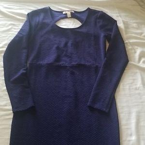 Medium length, blue, long sleeved M dress
